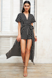 My Life My Way Stripe Romper - Black White