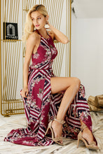 Load image into Gallery viewer, Floral Tiles Halter Maxi Dress - Red