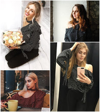 Load image into Gallery viewer, Glam Polka Dot Blouse - Black White