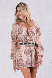 My Time Embroidered Playsuit - Nude Gold