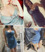 Load image into Gallery viewer, Peace Out Denim Mini Dress