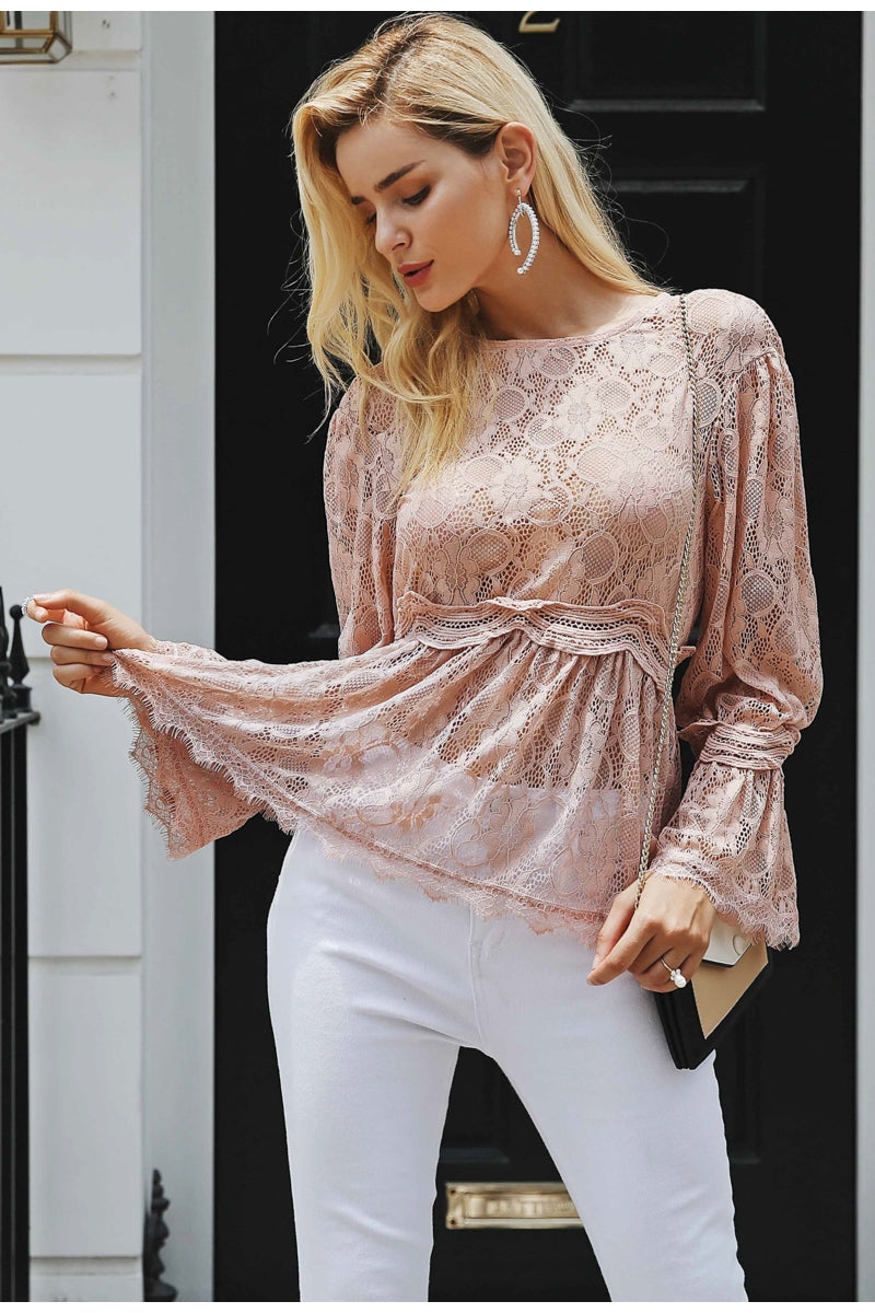 Live in My Terms Lace Blouse - Incarnadine Pink