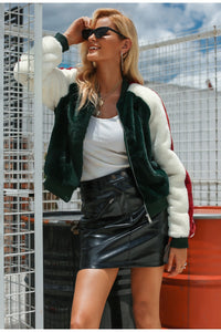 Angelina Faux Fur Bomber Jacket - Green