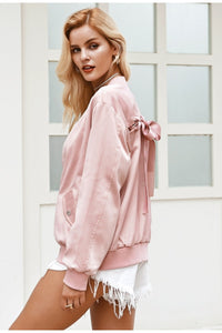 Little Pink Lies Satin Jacket - Pink