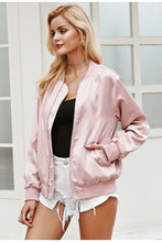 Load image into Gallery viewer, Little Pink Lies Satin Jacket - Pink
