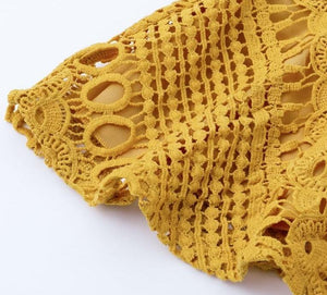 Can`t Hold Me Back Lace Blouse - Yellow