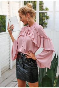 Timeless Ruffle Blouse - Nude Pink