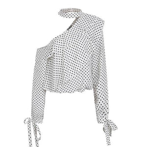Glam Polka Dot Blouse - Black White