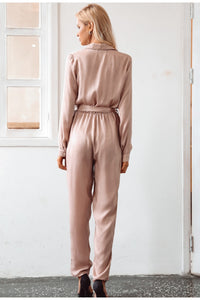 In Love Forever High Collar Jumpsuit - Fresh Pink