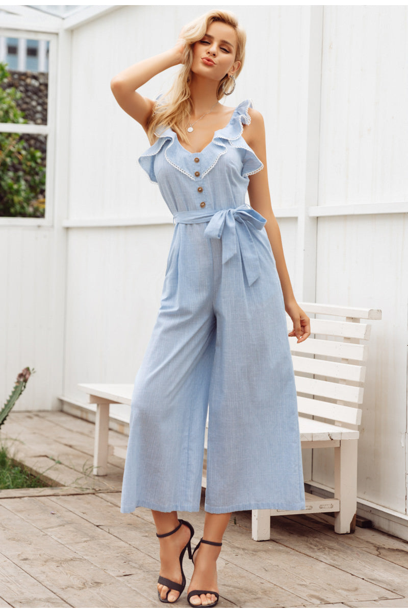 Style It Cotton Jumpsuit - Light Blue