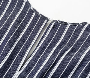 Joyful Me Stripe Jumpsuit - Navy Blue