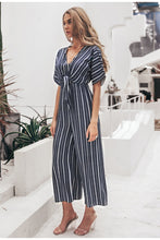 Load image into Gallery viewer, Joyful Me Stripe Jumpsuit - Navy Blue