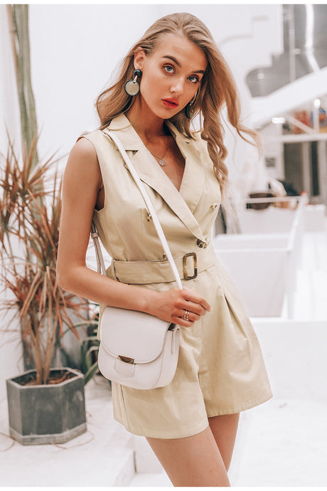 Own It Cotton Romper - Khaki