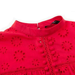 Self Love Embroidered Tops - Red
