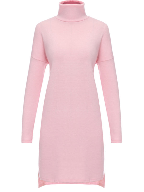 Rollkragen Lange Ärmel Basic Dress