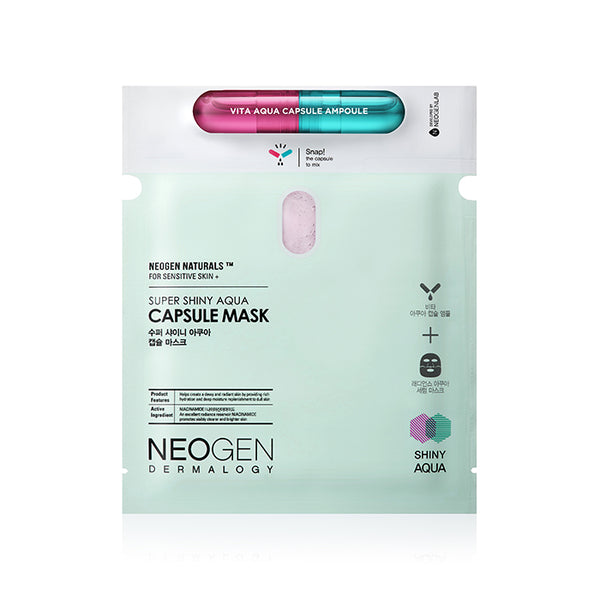 NEOGEN Dermalogy Super Shiny Aqua Capsule Mask 165g / 5.82oz (5 Sheets) [Ship from US]