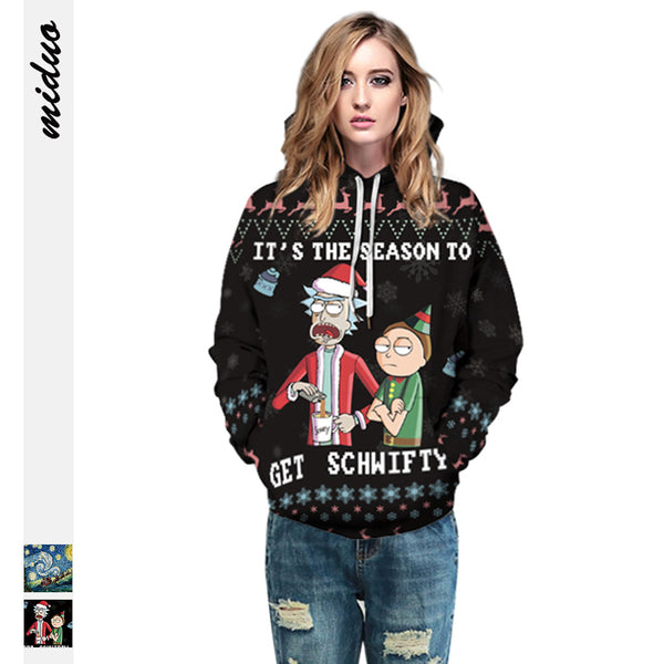 2019 Rick And Morty Ugly Christmas Sweater Funny Santa Couple Pullover