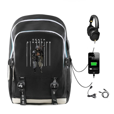 Kojima Productions Death Stranding PS4 Game Print Backpack Schoolbag With Headphone Jack USB Charging Interface Christmas Gift