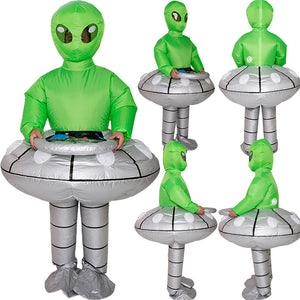 Halloween PartyArea 51 Costume UFO Alien Abduction ET Inflatable Blow Up Costume