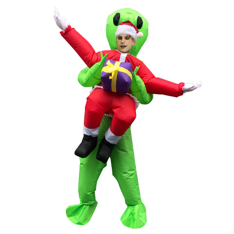 Christmas Santa Claus Area 51 Costume ET Alien Inflatable Blow Up Costume