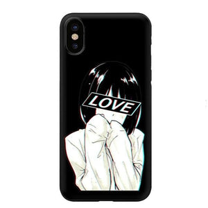 LOVE Japanese Anime Girl Aesthetic Silicone Soft Case for iPhone