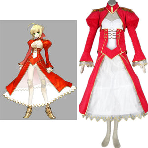 Fate Stay Night Red Saber Halloween Cosplay Costume