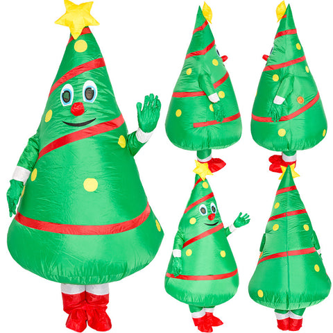 Christmas Tree Xmas Elf Inflatable Blow Up Costume For Adult Kids