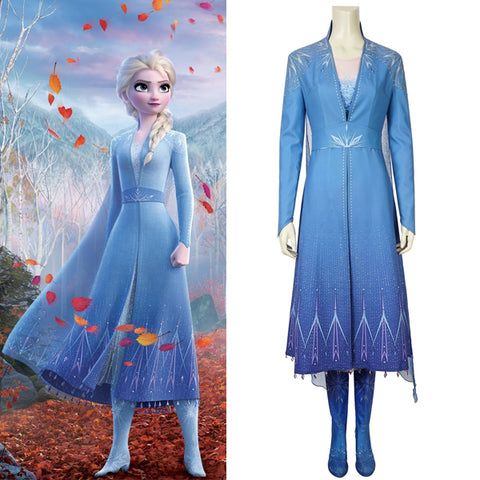 Frozen 2 Elsa Halloween Cosplay Costume 2019 Movie Version Full Set High Quality Version