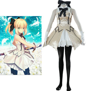 Fate Stay Night Saber Lily Halloween Cosplay Costume
