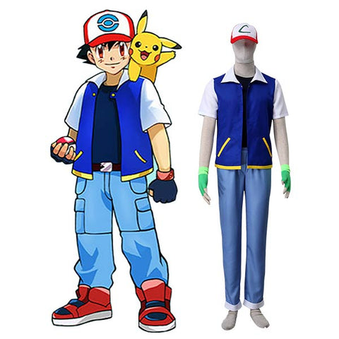 Pocket Monster Pokemon Go Ash Ketchum Halloween Cosplay Costume