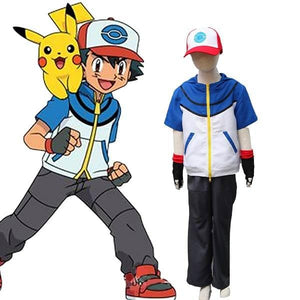 Pocket Monster Pokemon Go Ash Ketchum Cosplay Costume For Kid Halloween