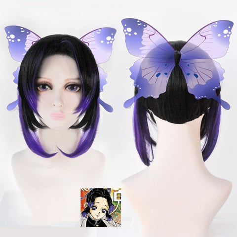 Demon Slayer Kimetsu no Yaiba Kochou Shinobu Halloween Cosplay Wigs