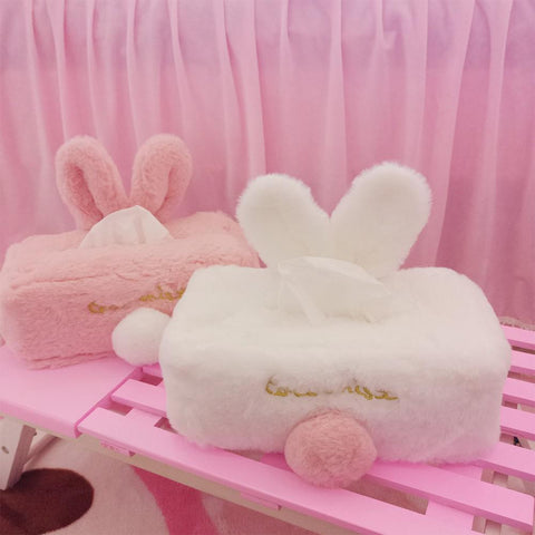 Kawaii Cute Rabbit Shape Plush Surface Tissue Box for Home Living Room Car