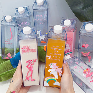 Kawaii Pink Panther Bottles Milk Box Plastic Girl's Drink Bottle