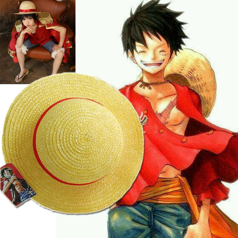 One Piece Luffy Japanese Anime Cosplay Straw Hat Monkey D Luffy Hat Cartoon Cap Halloween Gift