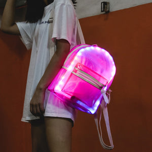 Women Glitter Jelly Backpack Haraujuku Lantern LED Light Decoration Shoulder Bag