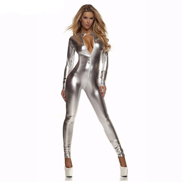 Women Full Body Catsuit Bodysuit Metallic Shiny Zentai Bodysuits