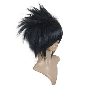 Naruto Uchiha Sasuke Wigs Black Short Straight Shaggy Layered Synthetic Cosplay Wig + Wig Cap Free