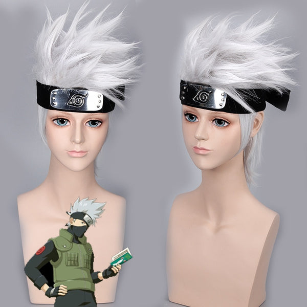 Naruto Hatake Kakashi Halloween Cosplay Wig Silver White Short Heat Resistant Sythentic Hair Wigs + Headband + Mask