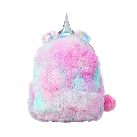 Kawaii Unicorn Backpack Bags For Women Winter Faux Fur Backpack