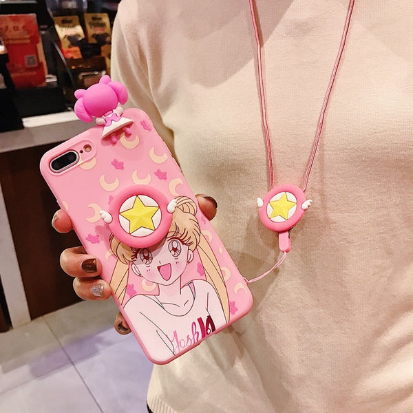 Sailor Moon Kawaii Pink Phone Case For iPhone With Lanyard And Holder