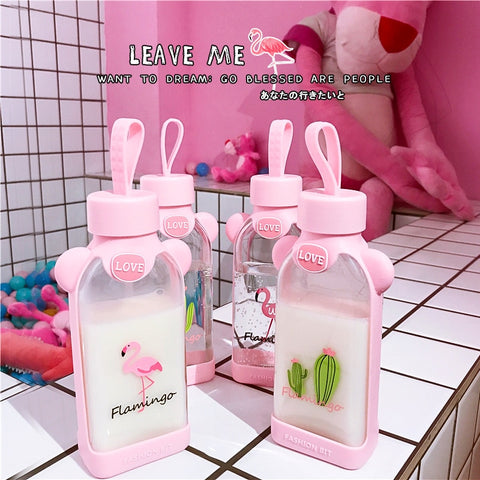 Kawaii Pink Water Milk Bottles Shape Transparent Glass Drinking Box