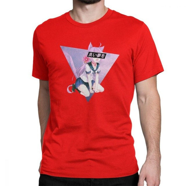 GOOD DREAM Cat Girl Sad Japanese Cute Sexy Vaportrash Comic T-Shirts