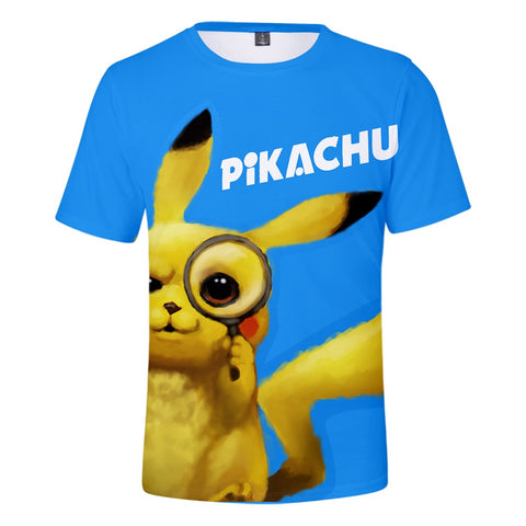Detective Pikachu 3D Print T-shirt 2019 Pokemon Movie Men's T-shirt