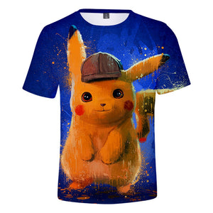Detective Pikachu 3D T-shirt 2019 Pokemon Movie Cute Men's T-shirt