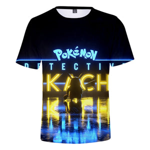 Detective Pikachu 3D T-shirt 2019 Pokemon Movie Men's Summer Cool T-shirt