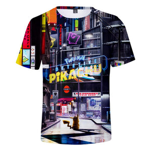 Detective Pikachu 3D T-shirt 2019 Pokemon Cyberpunk Movie Men's T-shirt