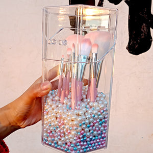 Kawaii Pearl Makeup Brush Holder Beauty Brush Container Pen Brush Container