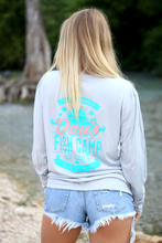 Load image into Gallery viewer, Don's Paradise Fisherman Shirt - Turquoise / Coral - Grey