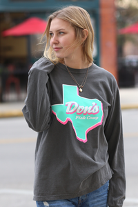 Don's Texas Long Sleeve - Pink/Mint - Charcoal